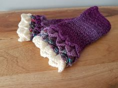 Purple White Fingerless Mitts - Purple Drivers Mitts - Purple Mitts - Purple Dragon Mitts - Purple Mermaid Mitts - Teen Gift - Student Gift