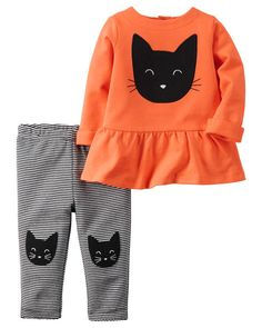 In soft stripes and cozy peplum with kitty details, she's one cool cat in this coordinating set!