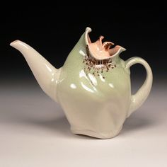 Green  and Orange Teapot by MarthaHGrover on Etsy, $150.00