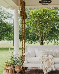 Swing into Summer: Porch Swings for Every StyleBECKI OWENS Balcony Swing, Patio Swing, Balcony Ideas, Outdoor Spaces, Outdoor Living, Outdoor Decor, Outdoor Ideas, Porch Swings For Sale, Home Swing