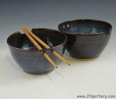 Pair of Stoneware Chopstick Bowls / Handmade Ceramic by JNpottery