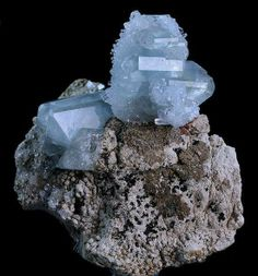 Celestite on matrix~  Mystical Properties:  Celestite or Celestine is an extremely popular tool for use in communication with angelic and other spirit guides. ...