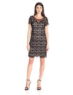 Sangria Womens Short Sleeve Embellished Neck Line Lace Shift BlacksTone 12 ** Be sure to check out this awesome product.
