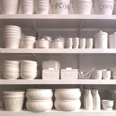 Want all these white ceramic dishes!