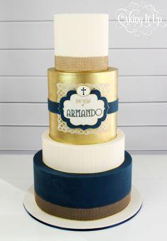 Baptism cake in navy, gold and white with edible hessian http://www.facebook.com/cakingitup