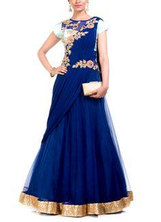 Anju Agarwal   Embroidered Midnight Blue Gown Saree   Shop Sarees at strandofsilk.com