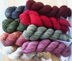 MadelineTosh. Working its way VERY quickly toward being my favorite yarn brand. I adore the way it's dyed and the rich colors!