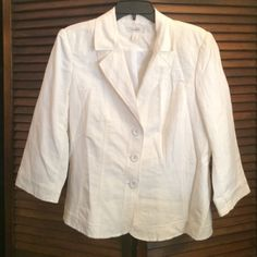 White 3/4 sleeves blazer! Business or casual, add this blazer to your collection today! Only worn once! Pet free and smoke free house! Dress Barn Jackets & Coats Blazers
