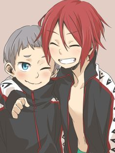 Rin and Nitori (Nitori is probably thinking, SENPAI NOTICED ME!)