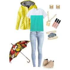 Rainy Days by youniquelyyou on Polyvore featuring Maison Kitsuné, American Eagle Outfitters, Object Collectors Item, Pierre Balmain, RumbaTime, Charlotte Russe, Kate Spade, Oscar de la Renta and Bobbi Brown Cosmetics