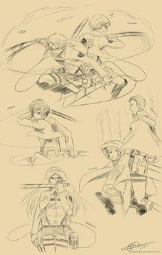 Attack on Hetalia by ExelionStar.deviantart.com on @deviantART // Wasn't sure whether to pin to hetalia or anime...