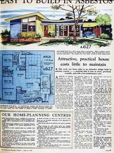 1958 Australian home plan. Repinned by Secret Design Studio, Melbourne. www.secretdesignstudio.com