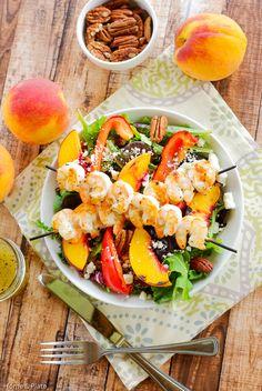 Grilled Shrimp, Peach & Goat Cheese Salad with Honey Balsamic Vinaigrette