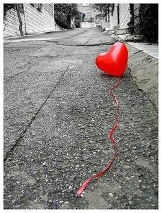 Lost heart balloon black and white city red heart sad street balloon valentines day