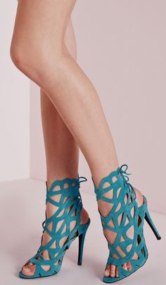 Teal cut out heels