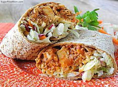 Honey BBQ Chicken Cheddar Burritos with Mayo Free Slaw