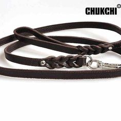 Solid Black Cowhide Leather Dog Animal Leashes For Large Dog Pet Thicken Strong…