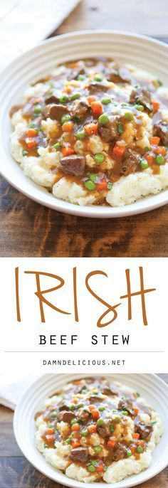 Irish Beef Stew - Amazingly slow-cooked tender beef with garlic mashed potatoes . - Irish Beef Stew – Amazingly slow-cooked tender beef with garlic mashed potatoes – comfort food - Slow Cooker Recipes, Crockpot Recipes, Soup Recipes, Cooking Recipes, Recipies, Recipes Dinner, Beef Stew Recipes, Stewing Beef Recipes, Dinner Ideas