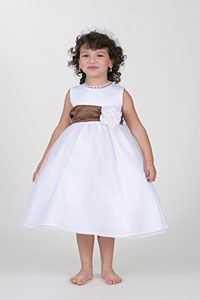 Flower Girl Dress Style 5165-Choice of Ivory or White Dress w/ Chocolate Sash/ Choice of 28 Flowers!