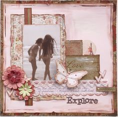Explore...a feminine page featuring a sweet pink color palette, layered framing and a lace border.