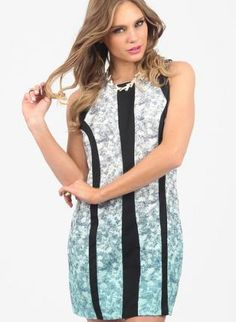Black Party Dress - Floral Print Ombre Style Party