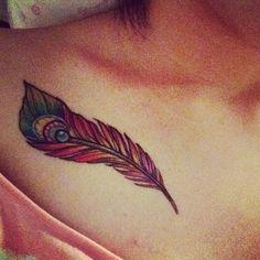 feather colourful tattoo