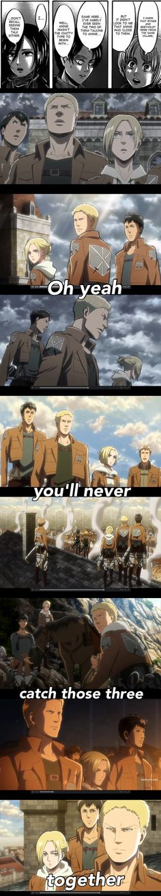 Attack on Titan Logic.  I love this group.  Possible spoiler -- I don't care who they've turned out to be.  I can see things from their side and I want to learn more about them, especially Annie.