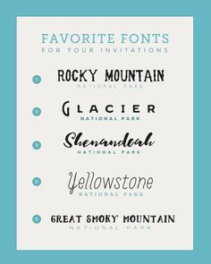 New post on The Budget Savvy Bride: Five Perfect Font Pairings for Your National Park Wedding Invitations by @mariahleigh33
