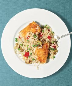 Crispy chicken and a flavorful pea-studded rice pilaf will become a new family favorite.