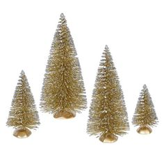 Set Of 4 Whimsical Gold Glitter Artificial Mini Village Christmas Trees Unlit