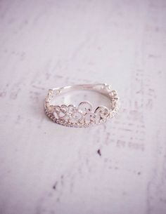Princess Crown White Gold Diamond Ring by TemsahJewelers on Etsy, $600.00
