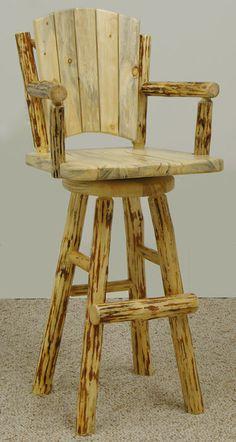 Rustic Mountain Hewn Swivel Bar Chair by MistyMtnFurn on Etsy, $750.00