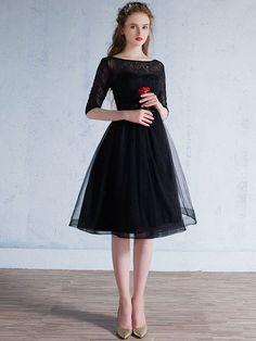Black Lace Modest Knee Length Formal Prom Evening Dress