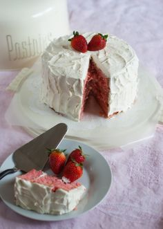 Strawberry layer cake by Bridget Edwards - Now through May 31, the Land O'Lakes Foundation will donate $1 to Feeding America® every time you pin or re-pin this recipe!