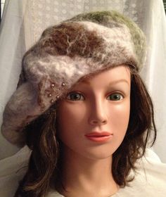 ladies felt beret felted hat warm hat Winter by Tatiana123 on Etsy
