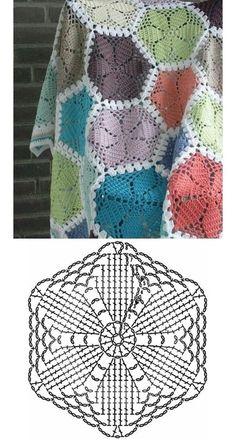 Crochet Square Blanket, Granny Square Crochet Pattern, Crochet Diagram, Crochet Squares, Crochet Blanket Patterns, Crochet Motif, Crochet Designs, Crochet Stitches, Crochet Blankets