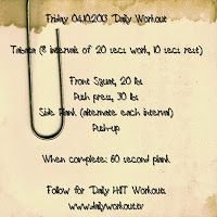 Friday 04.10.2013 Daily Workout. Day 4 of our 90 Day Makeover Challenge - join us!