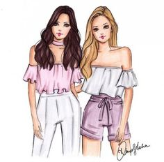 Tag your bff! Bff Pics, Bff Pictures, Bff Drawings, Drawings Of Friends, Drawings Of Clothes, Drawings Of Dresses, Cute Best Friend Drawings, Best Friend Sketches, Friends Sketch