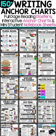Over 150 writing anchor charts, writing posters, and writers notebook posters! Includes writing strategies posters, writing process posters, grammar posters, types of writing posters, and traits of writing posters! Perfect for interactive notebooks. Writing Strategies Anchor Charts | Writing Process Anchor Charts | Grammar Anchor Charts | Types of Writing Anchor Charts | Traits of Writing Posters | Traits of Good Writers | Teaching Writing | Writing Resources