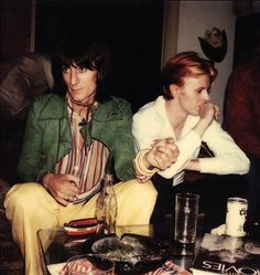 """voodoolounge: """" Ronnie Wood and David Bowie in Los Angeles, September © Photo by Bill Wyman. David Bowie, Rock N Roll, 1970 Style, Bill Wyman, Ron Woods, Bowie Starman, Ronnie Wood, The Thin White Duke, Major Tom"""