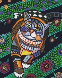 Cat Cross Stitch Kit Cat 1 By Heather Galler Cat Art Count CrossStitch Kits