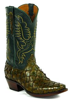 Vintage lucchese classics anteater skin exotic cowboy for Pirarucu fish boots