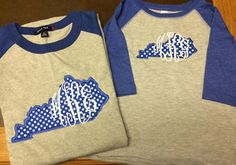 Mommy and Me State of Kentucky with Monogram Baseball Tees