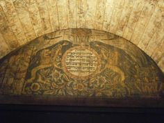 The roar of the lion. Incredible painted details of an old Synagogue ceiling. Israel museum, Jerusalem