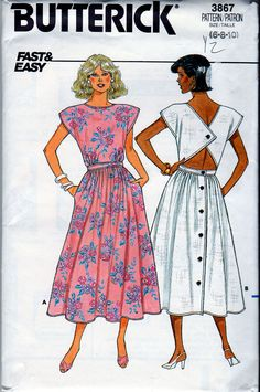 Butterick 3867; ©1986; Misses' Summer Open-back Dress, MINT Sz 6-8-10