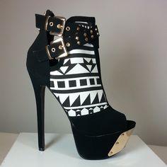 Peep-toe platform heels in faux suede material with tribal print #cutesyoriginals
