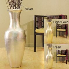 globe 36-inch bamboo tall floor vase (brown vase & branches