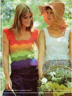 Vintage 70s PDF Rainbow Crochet Sleeveless / Cap by scarlettess