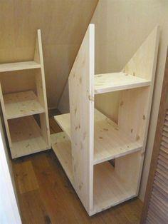 Under stairs storage? Under stairs storage? Attic Storage, Storage Stairs, Under Stair Storage, Eaves Storage, Storage Room, Garage Storage, Stair Shelves, Garage Loft, Smart Storage