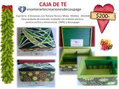 TIENDA DE REGALOS- Caja de te-Técnica Mixta ENAMORARTE creaciones decoupage https://www.facebook.com/enamorartecreacionesdecoupage